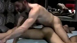 Two incredibly hot muscle studs fuck at the bathhouse
