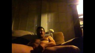 Guy on speed jerking off on his couch