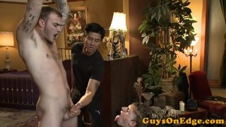 BDSM doms cocksucking and jerking compliation